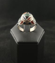 Antique silver ring with enamel - Afghanistan, second half of 20th century