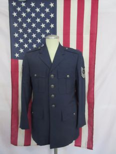 U.S. Air Force tunic + original U.S.A. flag - hanging.