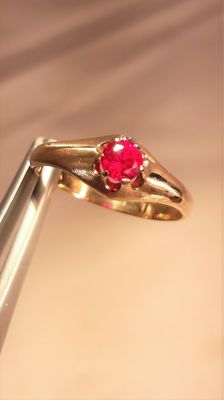 Natural ruby ring 0, 33 ct, no reserve