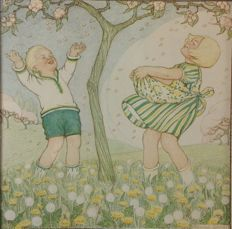 "School poster for the lowest classes SPRING. ""Catch blossom petals"" drawn by B. Midderigh-Bokhorst Lithography on thick paper with passe-partout."