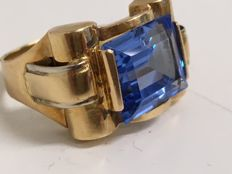 18 kt Gold ring with aquamarine - 1940 - ring size 19.25 mm