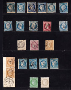 France 1849/1873 – Colour study, cachets  and cancellation varieties on Ceres and Napoleon III – between Yvert 4 and 53.
