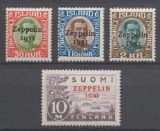 Iceland and Finland 1930/1931 - Airmail Graf Zeppelin - Michel 147/149  + 161