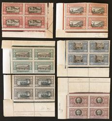 Italy 1923 - Manzoni complete series in 6 blocks of four (corner of sheet), extremely fine quality - Sass.  N°  151/56