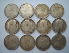 British India - Rupee 1862/1918 Victoria, Edward VII and George V (12 pieces) - silver