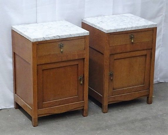 Classic Wooden Bedside Tables With Marble Top, Netherlands, Mid 20th Century