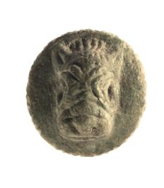 Amulet seal, calf's head, two gazelles at the tree of life, stone: Ø = 30.0 mm