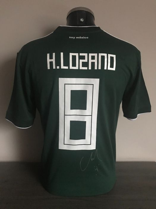 buy popular 3b71e 0a4d2 Hirving Lozano signed Mexico home shirt 2017-2018 with ...