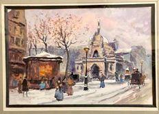 Circle of Antoine Blanchard (Paris 1910 - 1988 )   -  Winter in Paris   -  mixed media
