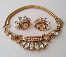 Crown TRIFARI Alfred Philippe Diamanté Collar Choker and Earrings