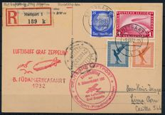 German Empire - 1932 - zeppelin post LZ 127 8th South American journey to Lima (Peru) and connecting flight Stuttgart - Friedrichshafen with 1RM zeppelin
