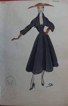 Pierre Cardin (attributed to) - Grande robe façon gabardine