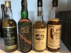 4 bottles - Glen Elgin 12 years old - Glen Flager - Glendullan 12 years old - Glenesk 5 years old - bottled 1970s-1980s