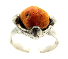 Saxon Era Silver Ring with Orange Stone - WEARABLE GIFT WITH GIFT BAG - 18 mm