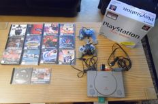 """PS 1 complete in box + 2 controllers + 2 demo """"s + 12 games in box with manual+tekken 3"""