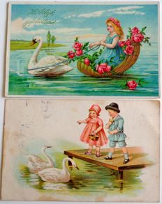 Varied lot consisting of children's cards--112 x--including Easter, children with musical instruments, age cards, birth, etc.