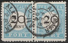 The Netherlands 1881 - Postage due in pair with combined perforation - NVPH P10C + P10B