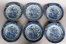 6 plates with symbols and painting from the Kangxi period. China 18th century