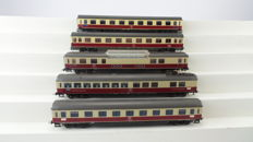 Roco H0 - 44404/4236B/4271/4272/4267 - 5 TEE express train carriages 1st class, panoramic carriage and dining car of the DB