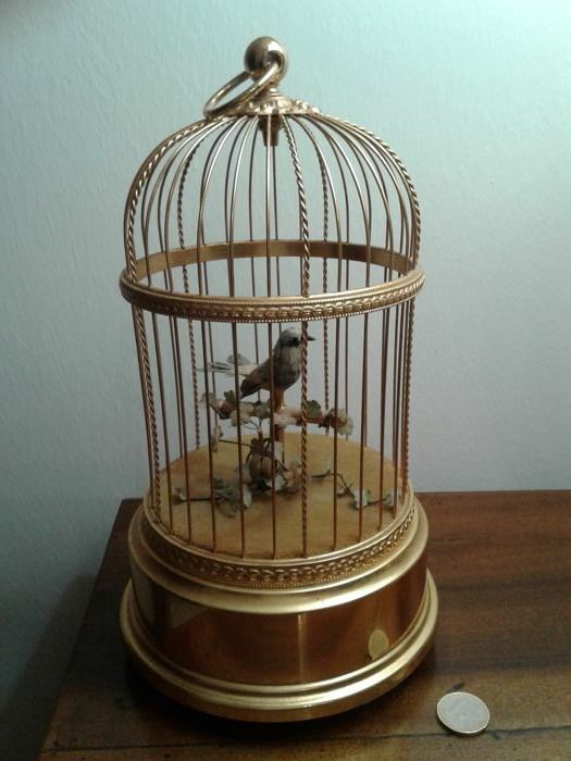 Reuge carillon with a bird automaton, from Switzerland, mid-20th century