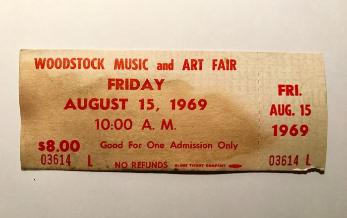 Original Unused Woodstock 1969 Ticket Catawiki