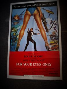 For your eyes only US original 1 sheet Movie Poster 1981 James Bond 007 Roger Moore
