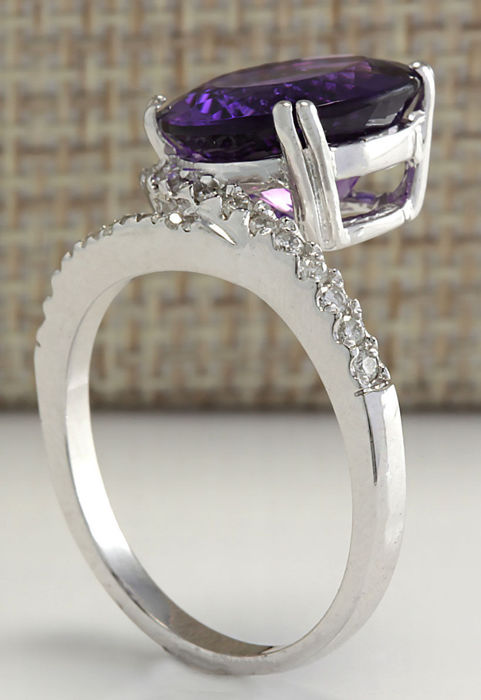 carat amethyst and diamond ring in 14k solid white. Black Bedroom Furniture Sets. Home Design Ideas