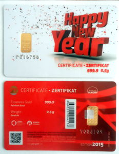"2 pieces Nadir PIM gold bars - 0.5 g of fine gold each - purity 999.9/1000 24-carat gold - gift card motif ""Happy New Year"" - gold bar - 1 g gold bars in credit card format, in a blister - LBMA-certified"