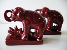Art ceramic of Bordeaux - Pair of Art Deco elephant bookends