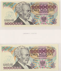 Poland - 24 different banknotes 10 to 2,000,000 Zloty
