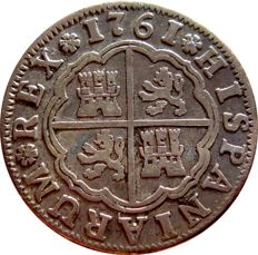 Spain - Charles III (1759-1788) - 2 silver reales, 1761 Seville. JV
