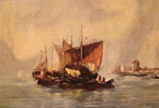 C. Schuge (19th century) - Seascape with boats
