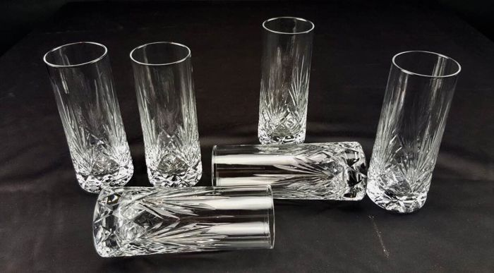 Set of 6 hand-crafted cut crystal water glasses - France - ca. 1930