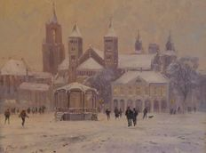 Gert-Jan Veenstra (1957) - Maastricht Vrijthof in winter