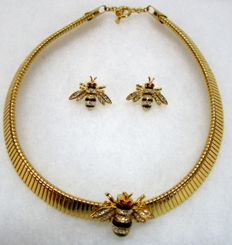 MMA Russian Imperial Slider Necklace with Bee Pendant and Earrings
