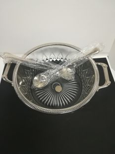 Silver plating and crystal - Large salad bowl