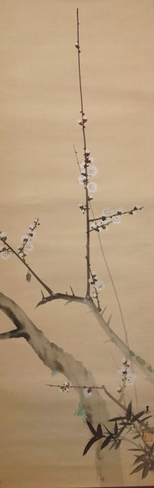 Japanese scroll painting of a blossoming prune branch - Japan - late 20th century