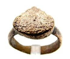 Viking Bronze Seal Ring with Heart Shaped Bezel - WEARABLE GIFT WITH GIFT BAG - 19mm