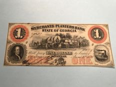 USA - 1 dollar from 1859 from the merchants and planters bank state of Georgia