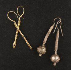 Two pairs of handmade silver earrings - Afghanistan, from the mid 20th century
