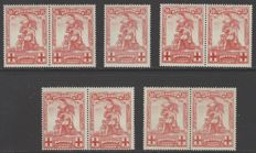 Belgium 1914 - OBP No. 127-V1 to V5 Monument the Merode 10c red with all listed varieties
