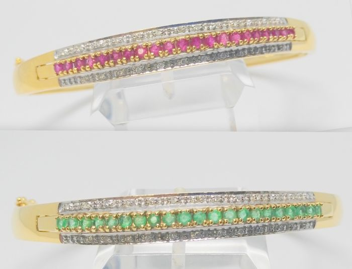 18 kt yellow gold bracelet with diamonds - Interchangeable emeralds and rubies - 2 bracelets in one - Rare