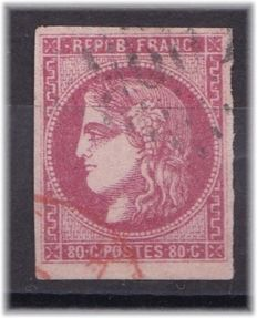 France 1870 – Type Bordeaux with red cancellation – Yvert 49