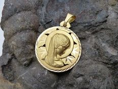 18 kt gold Virgin girl medal