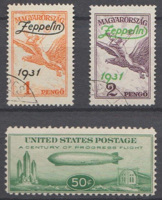 USA and Hungary 1931/1933 - airmail Graf Zeppelin - Michel 358 + 478/479 -  Catawiki