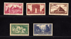 France 1928/1933 – Selection of 5 stamps, Caisse d'Amortissement – Yvert no. 258, 260, 261, 269, 290.