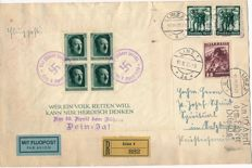 German Reich / Austria - the annexation of Austria to the German Reich on 10.04.1938 Hitler block with blue cancellation and with mixed franking from Austria