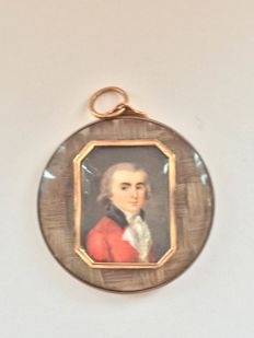 Miniature portrait of a Gentlemen wearing a red coat, English school, 18th century