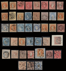 Spain 1856/1870 - Isabel II and Provisional Government. Lot of 41 stamps from Tarragona