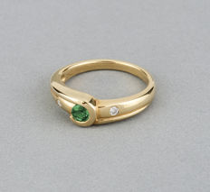 18 kt yellow gold - Cocktail ring - Diamond 0.10 ct  - Emerald 0.30 ct - Ring size 13 (Spain)